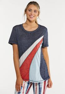 Plus Size Americana Colorblock Tee
