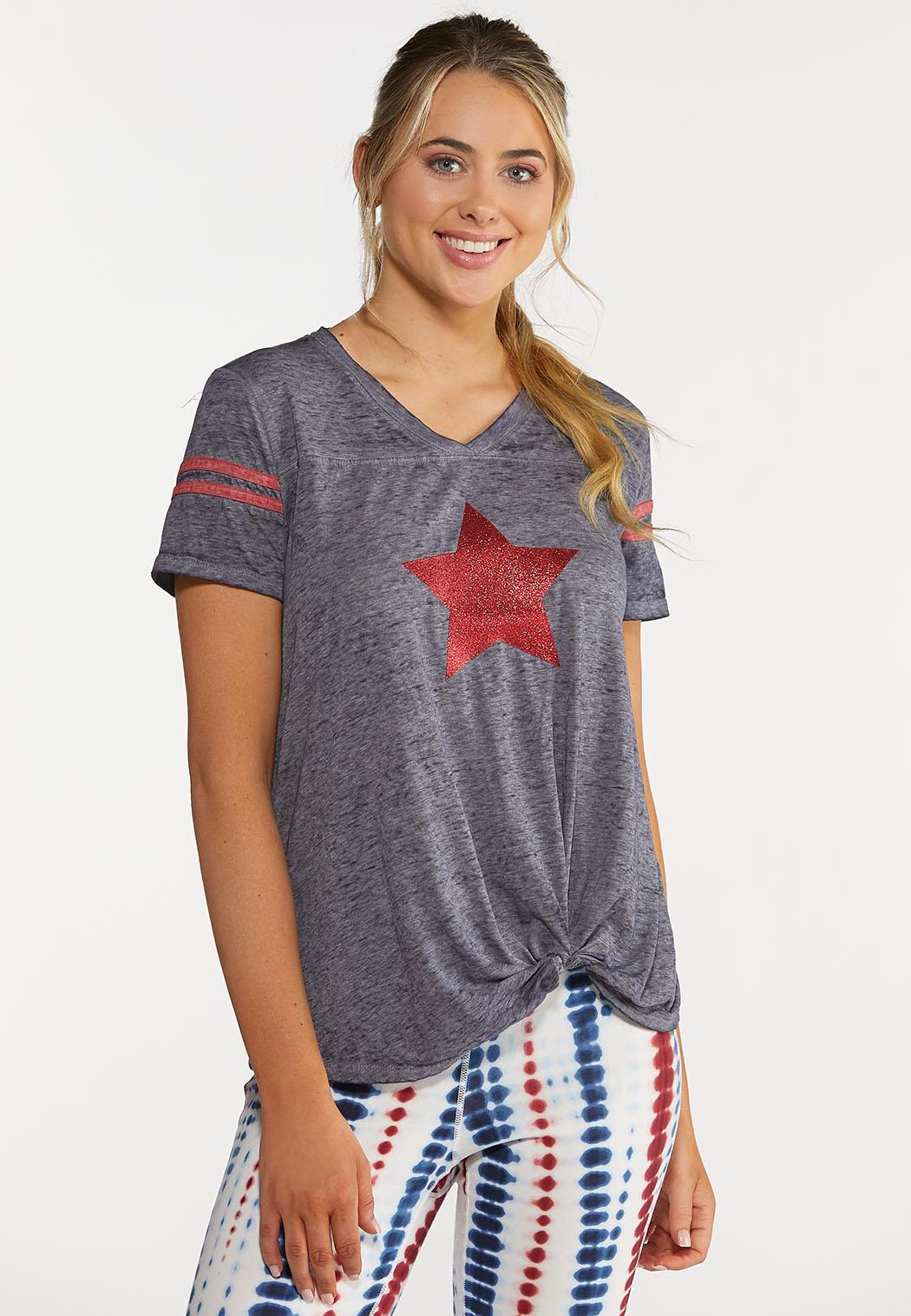Plus Size Sequin Star Tee