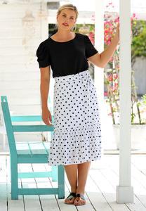 Plus Size Dotted Flounce Skirt