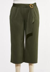 Plus Size Ribbed Cropped Pants