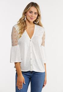 Plus Size Sheer Lace Panel Top