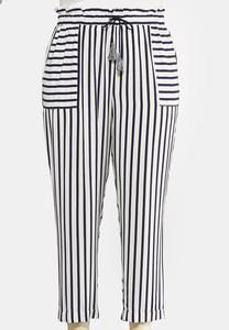 Plus Size Stripe Tassel Tie Pants