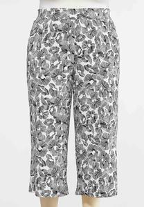 Plus Size Cropped Sketch Floral Pants