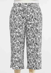 Plus Size Cropped Sketch Floral Pants