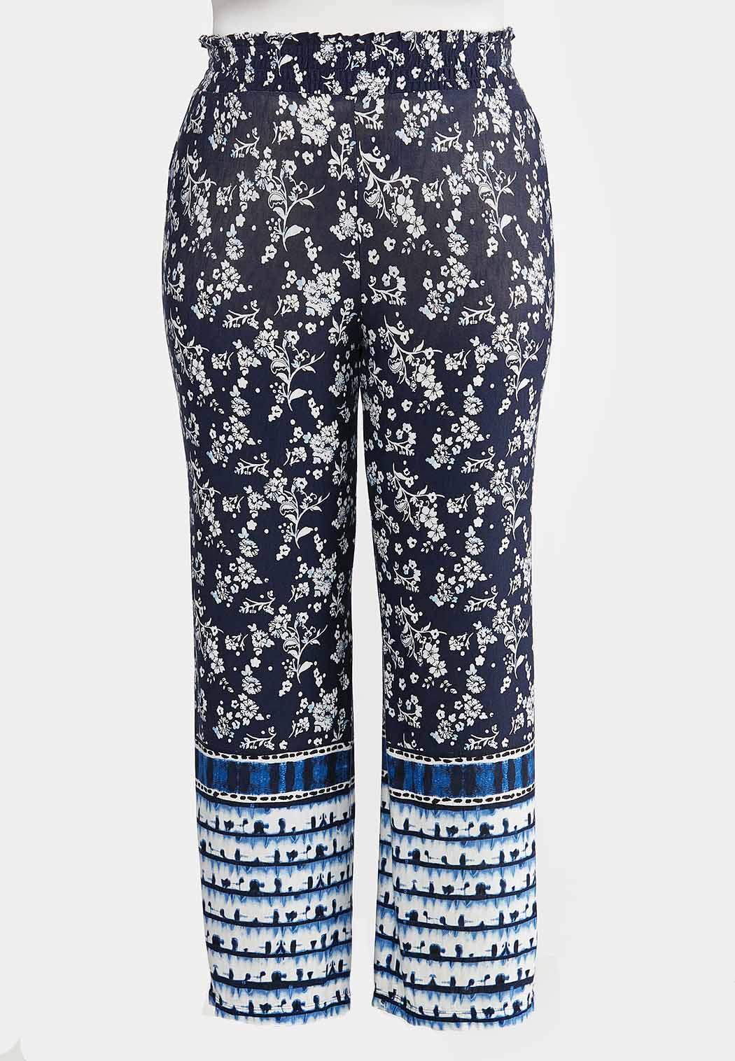 Plus Size Floral Tie Dye Panel Pants