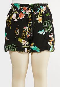Plus Size Tropical Gauze Shorts
