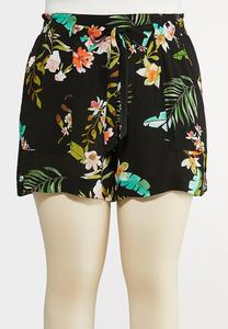 Plus Size Tropical Gauze Shorts