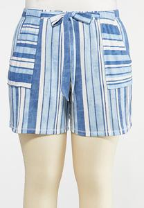 Plus Size Striped Ocean Blue Shorts