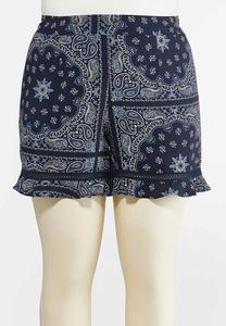 Plus Size Bandana Print Shorts