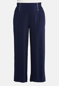 Plus Size Smocked Button Pants