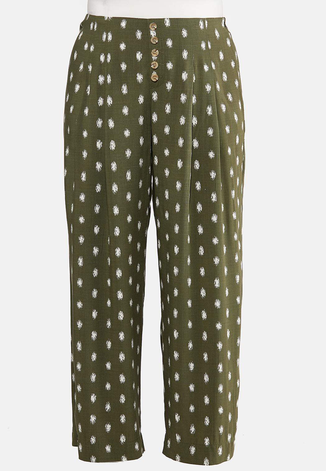 Plus Size Dotted Olive Pants