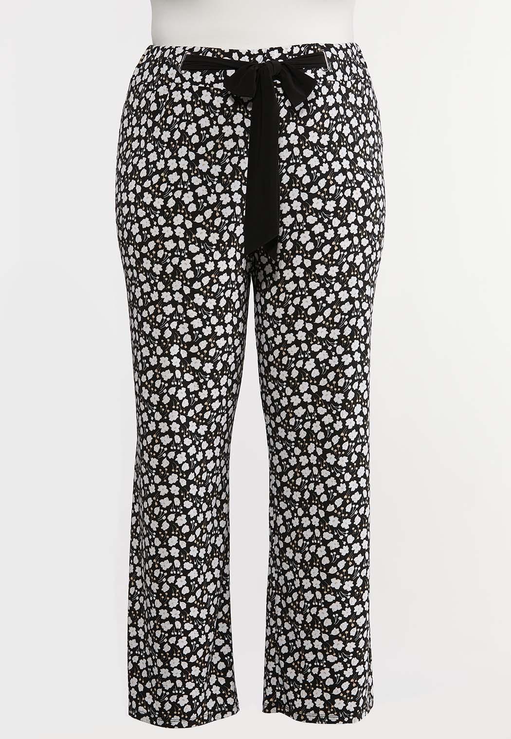Plus Size Bitty Floral Tie Waist Pants