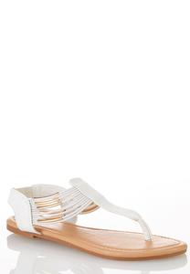 White Snake Stretch Band Sandals