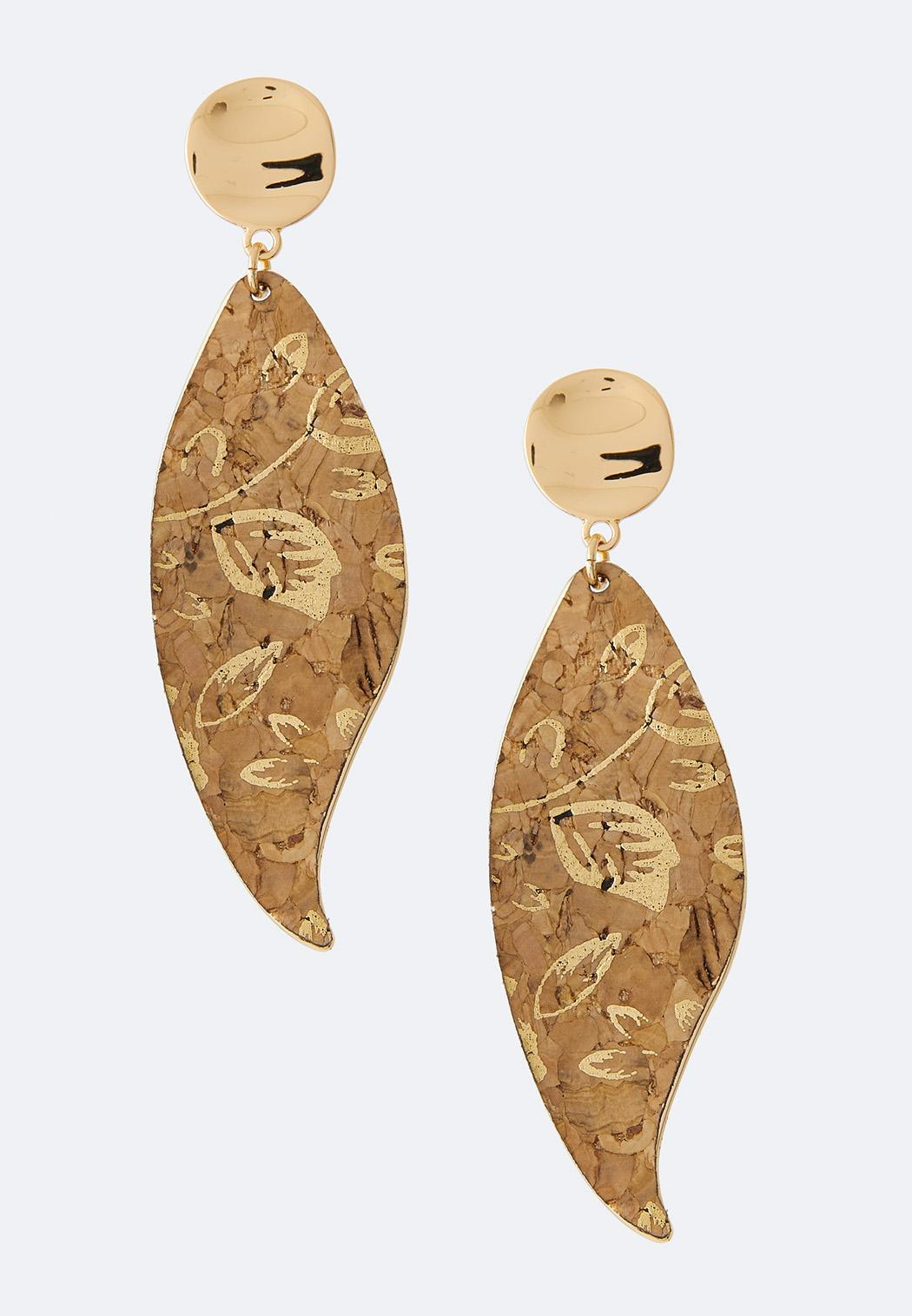 Metallic Cork Leaf Earrings