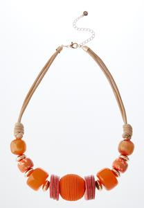 Orange Bead Cord Necklace