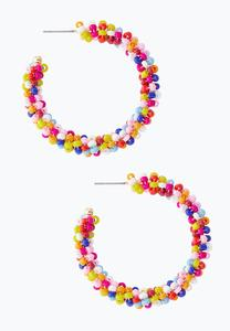 Confetti Seed Bead Hoop Earrings