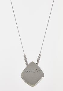 Hammered Metal Pendant Necklace