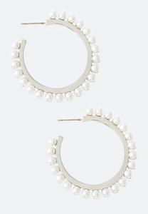 Pretty Pearl Hoop Earrings