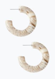 Beige Resin Hoop Earrings