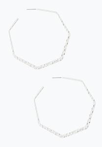 Textured Hexagon Hoop Earrings