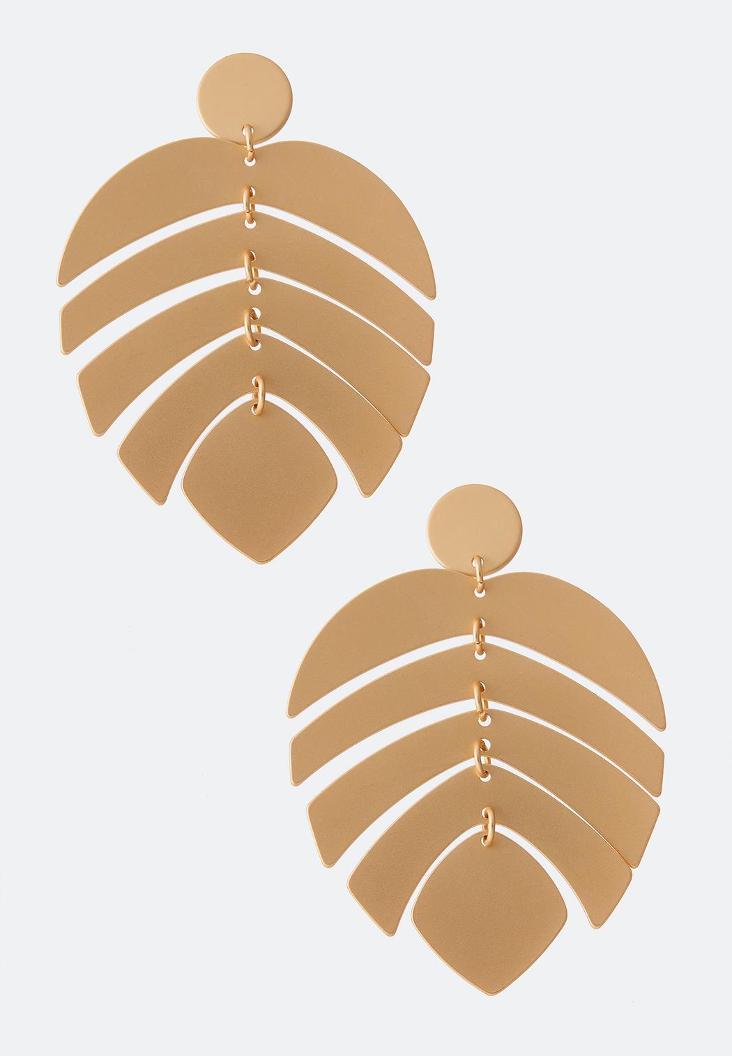 Dangle Palm Leaf Earrings