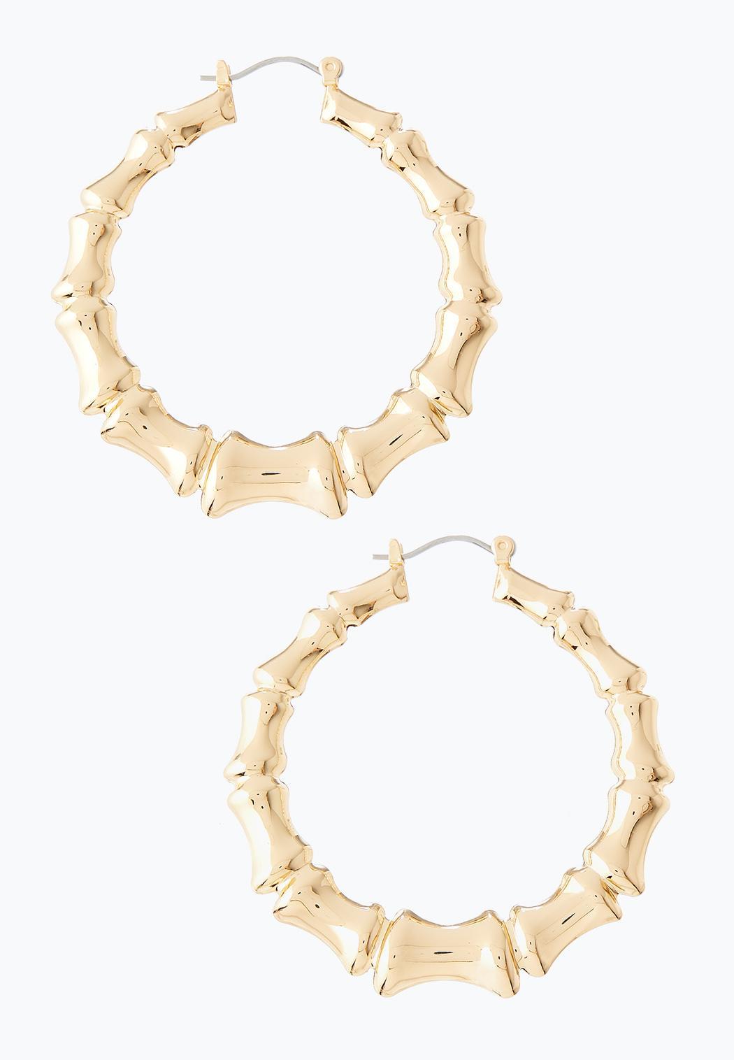 Metal Bamboo Hoop Earrings
