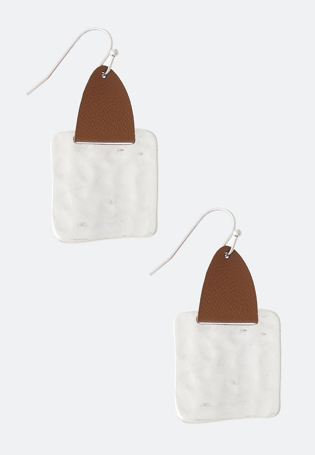 Geo Faux Leather Earrings