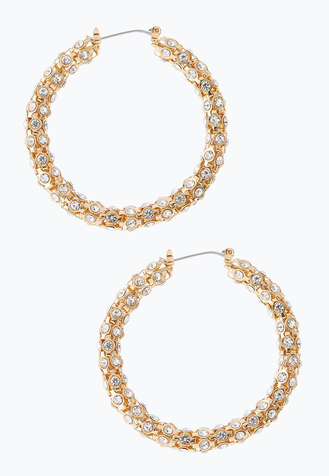 Chunky Rhinestone Hoop Earrings