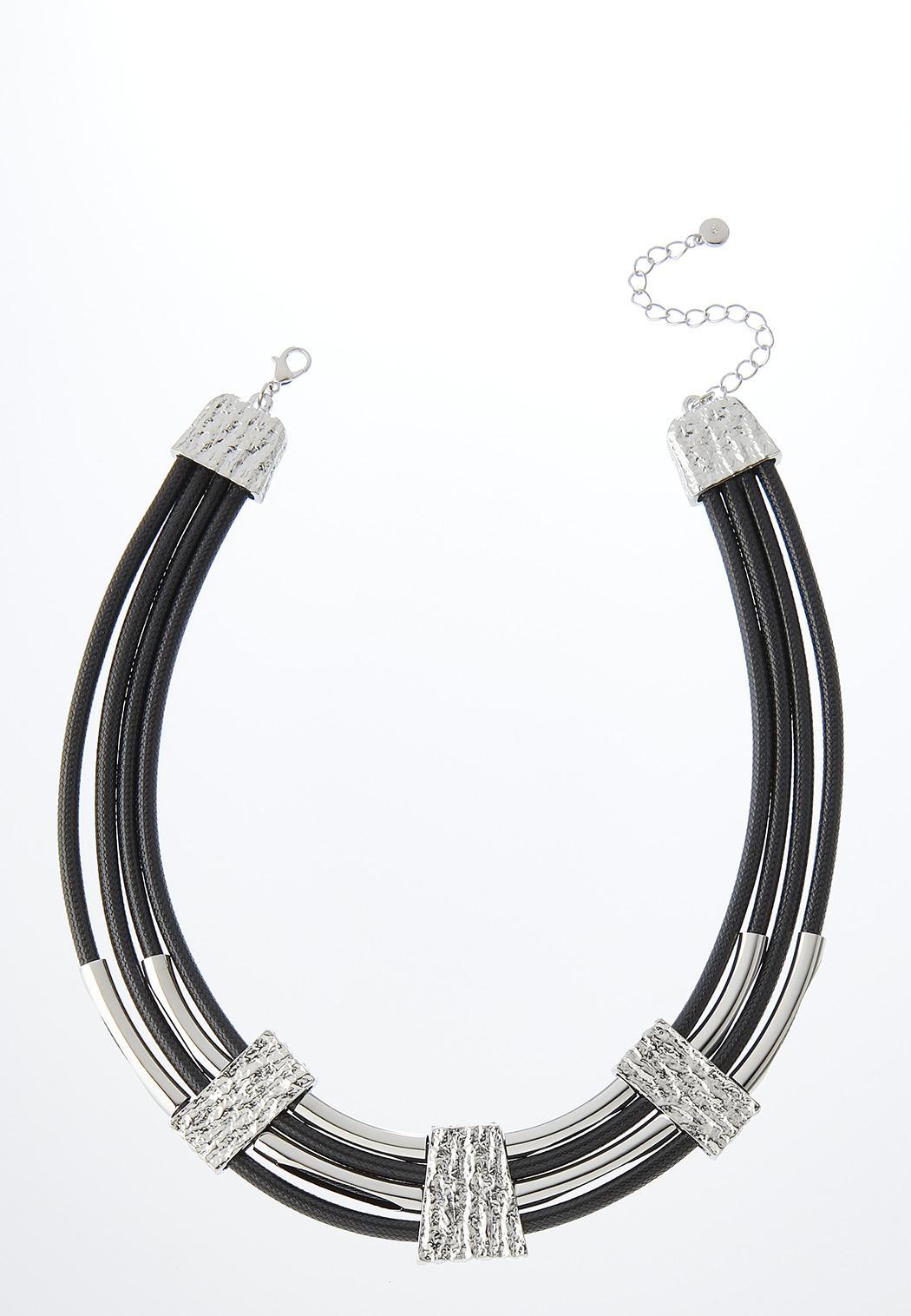 Silver Bar Cord Necklace