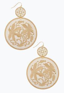 Laser Cut Circle Flower Earrings