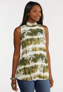 Plus Size Olive Puff Print Swing Tank