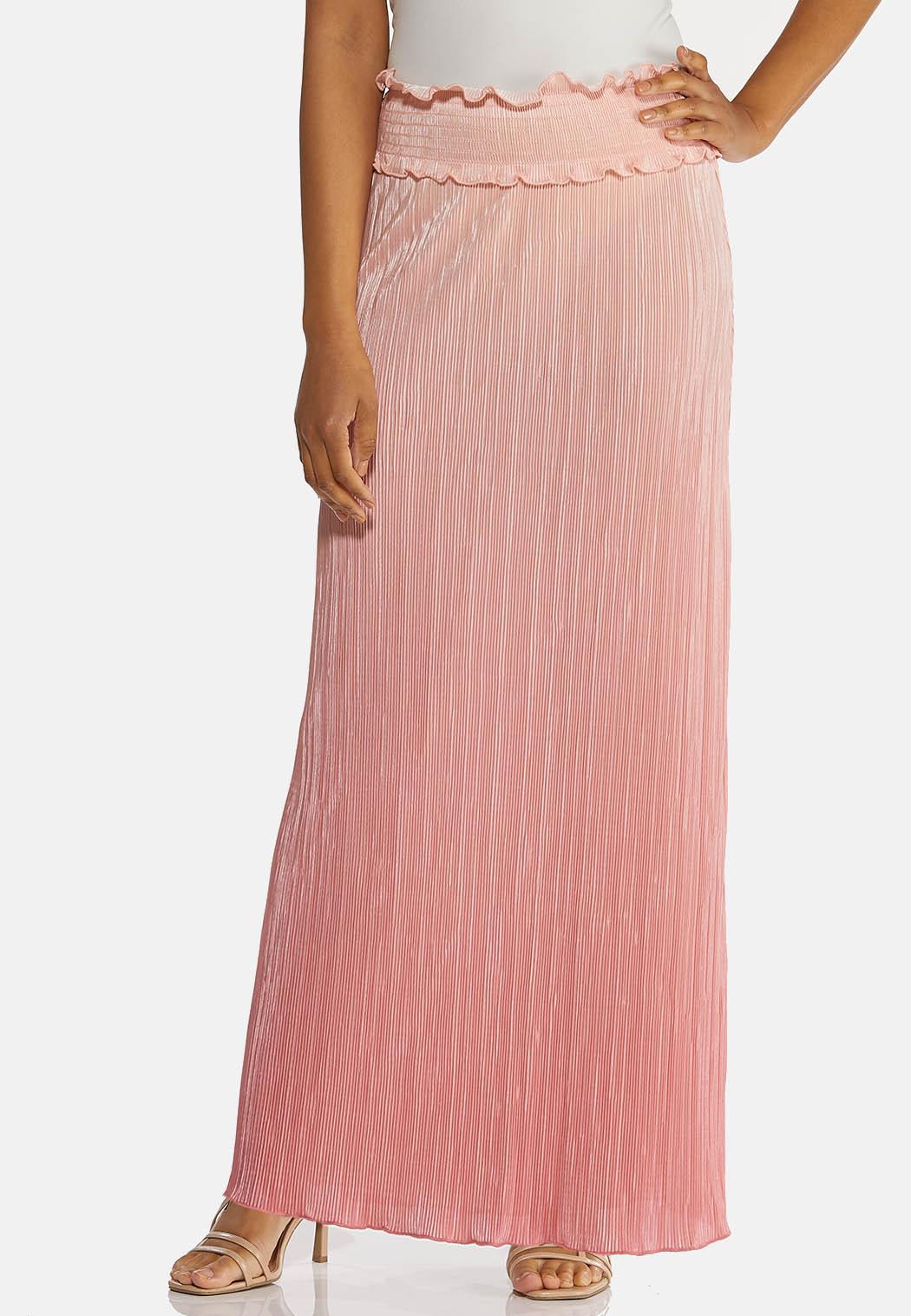 Plus Size Blush Pleated Maxi Skirt