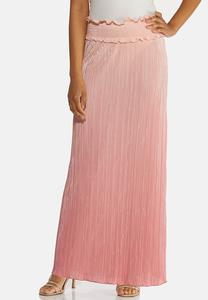 Plus Size Blush Pleated Maxi Skirt