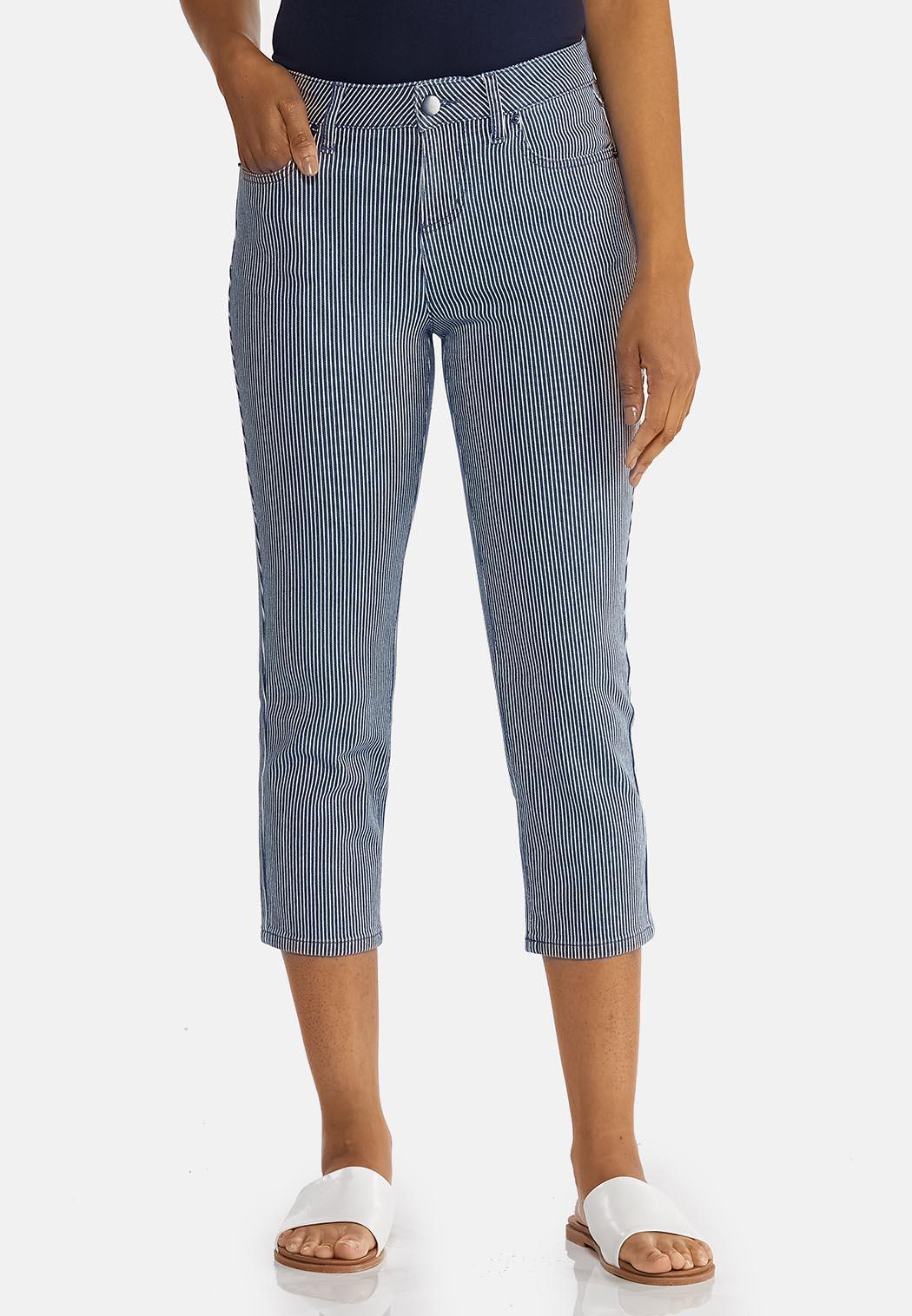 Cropped Nautical Stripe Pants