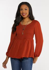 Plus Size Smocked Bodice Woven Top