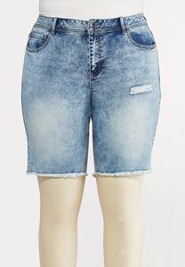 Plus Size Acid Wash Jean Shorts