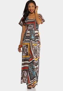 Patchwork Print Smocked Maxi Dress