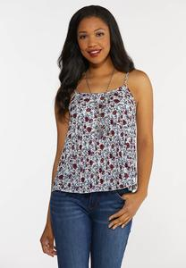 Pleated Floral Tank