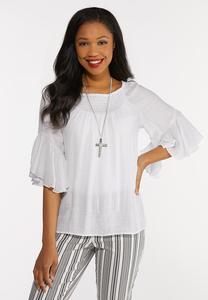 Plus Size White Ruffled Sleeve Top