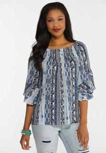 Smocked Paisley Blue Top