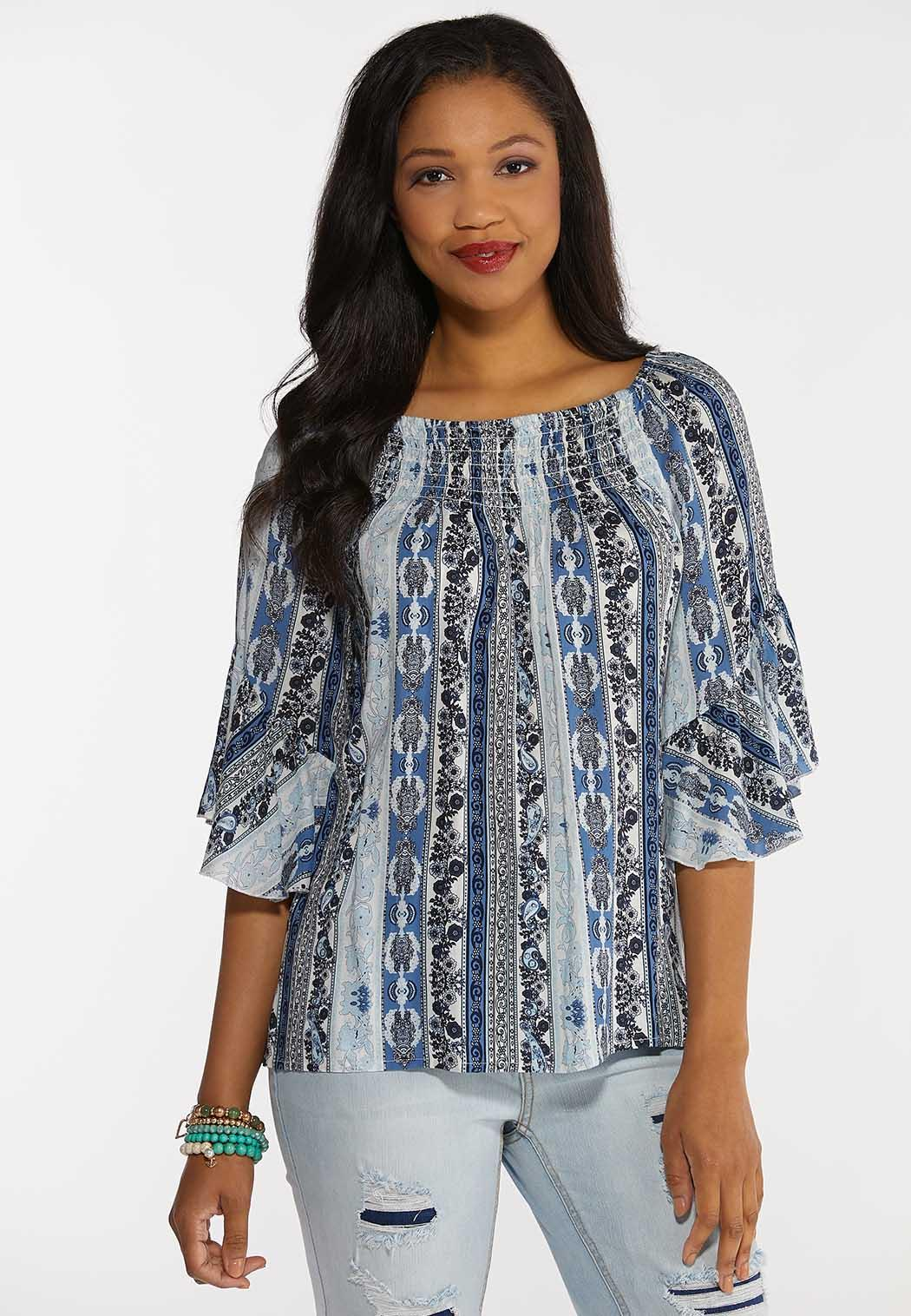 Plus Size Smocked Paisley Blue Top