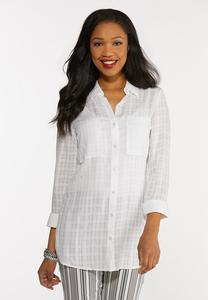 Plus Size Button Down Grid Tunic Top