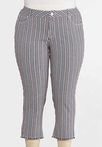 Plus Size Cropped Striped Jeans