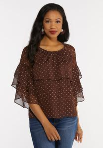 Plus Size Polka Dot Flounce Top