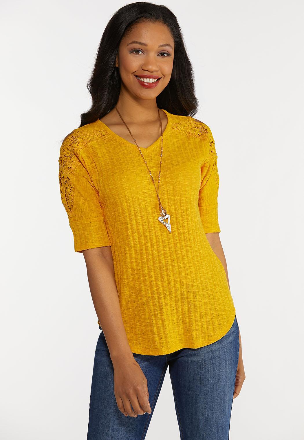 Plus Size Gold Lace Shoulder Top