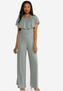 Ruffle Neck Aqua Gray Jumpsuit