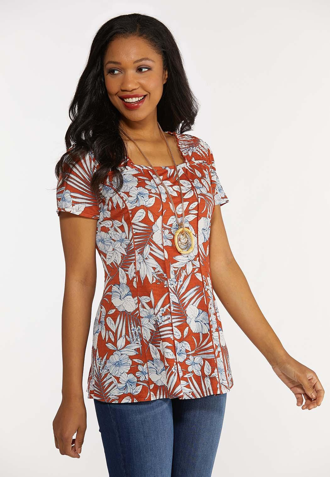 Plus Size Tropical Floral Tee