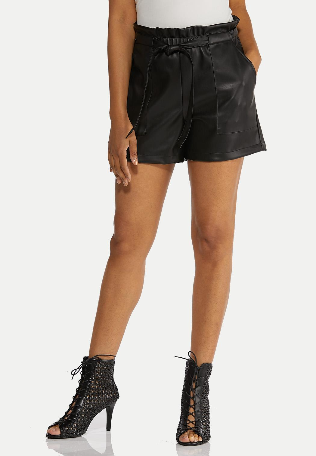 Faux Leather Paperbag Shorts