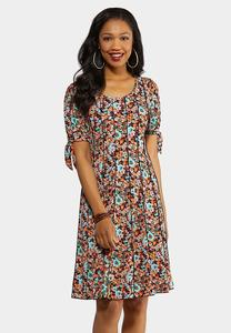 Tie Sleeve Ditsy Floral Dress