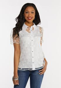 Plus Size Button Down Organza Dot Top